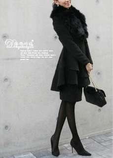 2012 Trendy Women Fur Collar Warm Wool Coat / Jacket Long