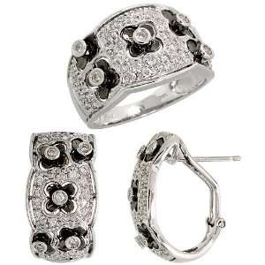 14k White Gold Dome Diamond Floral Ring & French Clip Earrings Set, w