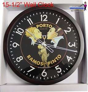 New 15 1/2 Wine Bar Porto Ramos Pinto Wood Wall Clock