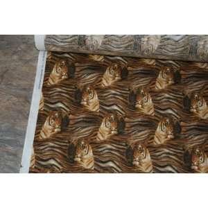 2 Yds Tiger Heads Stripe Print Cotton Fabric