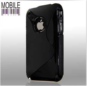 BLACK SILICONE S LINE CASE COVER FITS IPHONE 3G/3GS