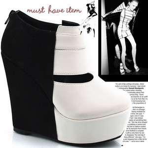 New Bootie Platform Wedge Heels White & Black K Pop High Top Fashion
