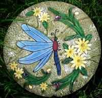 plaster cement dragonfly garden plaque plastic mold