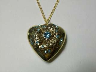 VINTAGE PUFFY HEART BLUE RHINESTONE PENDANT NECKLACE / GORGEOUS PIECE