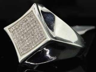 MENS WHITE GOLD FINISH PAVE DIAMOND FLAT PINKY RING