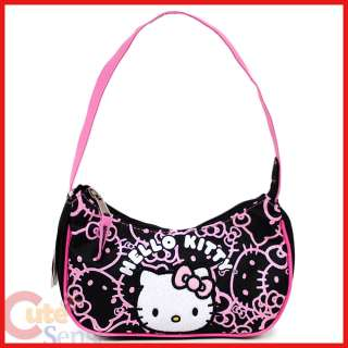 Hello Kitty Mini Purse Hand Bag Black Pink Glittering Face