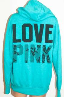 NWT Victorias Secret LOVE PINK Boyfriend Zip Hoodie M
