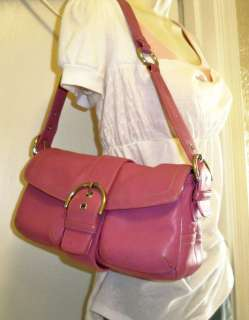 Pink Coach Double pocket LEATHER hobo bag SOHO silver brown signature