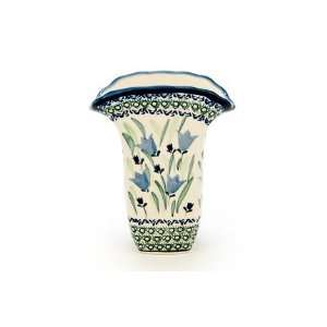 Polish Pottery Blue Tulip Square Vase Home & Kitchen
