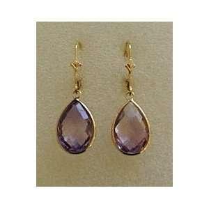 14K Yellow Gold Pear Shaped Amethyst Dangling Earrings