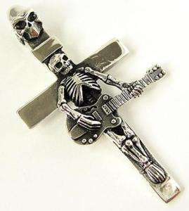 GUITAR SKULL SKELETON CROSS 925 STERLING SILVER PENDANT
