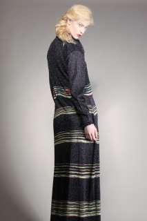 VINTAGE RAINBOW STRIPE MAXI DRESS Vtg 70s Metallic Knit Silver Lane