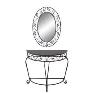 Classy Metal Wood Wall Mirror and Console Table