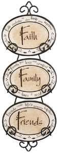 Hanging Plate   3 Piece   Faith   Family   Friends   w/Stand   17