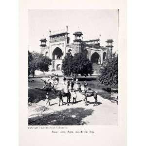 1929 Print Street Scene Cityscape Taj Mahal Agra India Famous