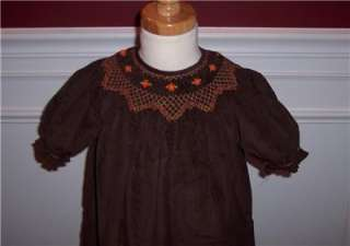 Thanksgiving Fall Bishop Dress Brown Smocked Corduroy