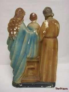 Mary Jesus & Joseph Catholic Chalkware Holy Family Statue Altar