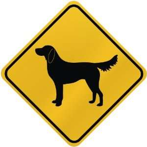ONLY  FLAT COATED RETRIEVER  CROSSING SIGN DOG