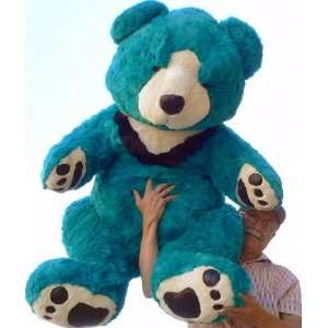 STUFFED TEDDY BEAR WITH BIG FOOT PAWS   COLOR: TURQUOISE: Toys & Games