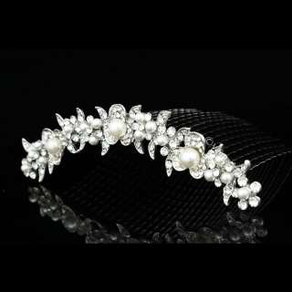 Bridal Wedding Rhinestone Crystal Pearl Flower Prom Party Tiara Comb