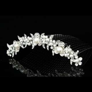 Bridal Wedding Rhinestone Crystal Pearl Flower Prom Party Tiara Comb