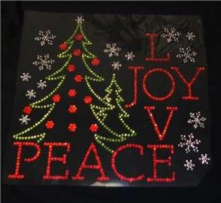 Christmas Peace Love Joy Rhinestone Iron On Transfer Bling
