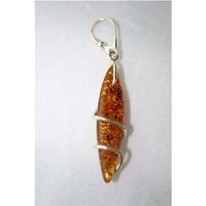 Sterling Silver & Natural Baltic Amber Earring 7 Grams
