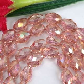 Pink Rice Crystal Glass Faceted Gem Loose Beads . You will receive a