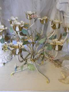 French 8 Arm Tole Candelabra~Hand Painted Flowers~Paris Mkt CHIC