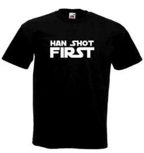 HAN SHOT FIRST Star Wars fans t shirt BLACK NEW