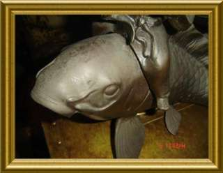 ANTIQUE JAPANESE MEIJI BRONZE CAST FISHERMAN RIDING A FISH SIGNED