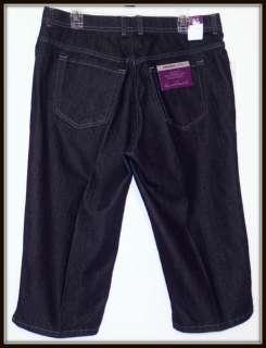 NWT Gloria Vanderbilt Amanda Stretch Classic Fit Capri Jeans 14W Dark