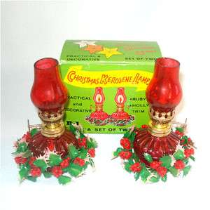 Christmas Miniature Ruby Flashed Glass Oil Lamps MIB