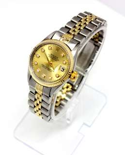 GORGEOUS 18K Gold/SS ROLEX DATEJUST w/ DIAMOND DIAL Truly Stunning
