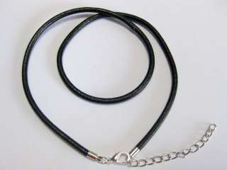 10 Black REAL Leather 3mm Necklace Pendant String 16