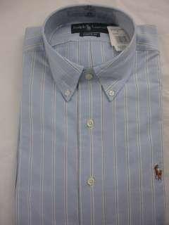 NWT Polo Ralph Lauren Dress Shirt Oxford Blue Striped