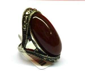 Charming Vintage Silver Small Oval Red Jade Ring Size 6