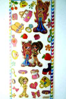 FOIL GOLD OUTLINED STICKERS, RETRO TEEN THEME, GIRL #2