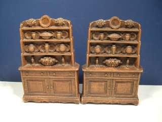 Wood Resin Bookends Book End Cabinet Welsh Cupboard Brown Vintage