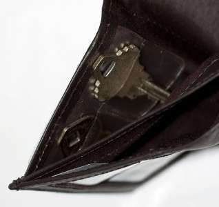 Mens Dark Brown Leather Trifold WALLET 8 card slots 408