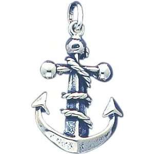 Sterling Silver Fouled Anchor Charm Pendant Jewelry