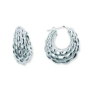 Sterling Silver Puff Bamboo Hoop Earrings Jewelry