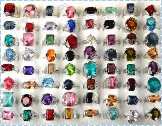 Wholesale lots jewelry 30pcs Crystal Zircon silver rings MIX LOTS Free