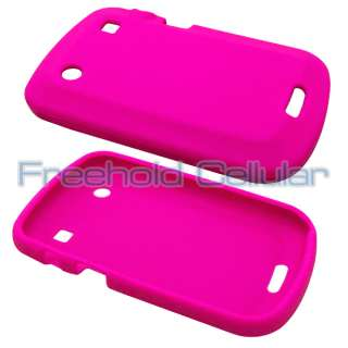 Hot Pink Silicone Skin Cover Case+Film+Car Charger for BlackBerry Bold