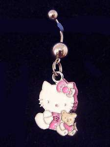 Hello Kitty W Her Best Friend Teddy Belly Ring 316L