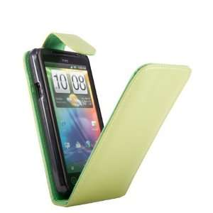 HTC EVO 3D Green Lime Specially Designed Leather Flip Case + FREE