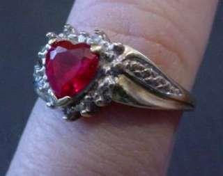 10KT YELLOW GOLD RUBY HEART & DIAMOND RING 2.1 GRM L@@K
