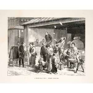 1874 Wood Engraving Japan Japanese Fried Fish Shop Street Jugglers