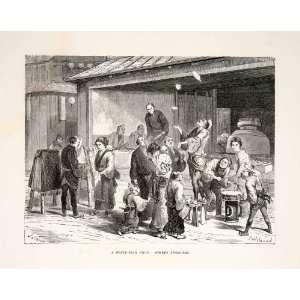 1874 Wood Engraving Japan Japanese Fried Fish Shop Street Jugglers