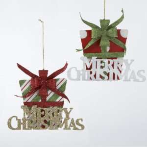 Club Pack of 12 Merry Christmas Present with Bow Glitter